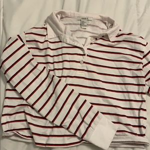 Forever 21 Red and White Striped Rugby Polo Top